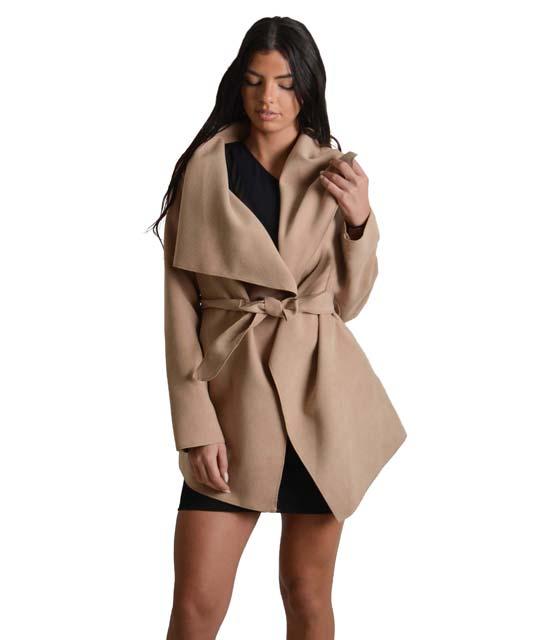 Κάμελ παλτό κοντό με ζώνη ρούχα   πανωφόρια   σακάκια   παλτό