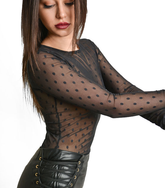 Total transparent black bodysuit