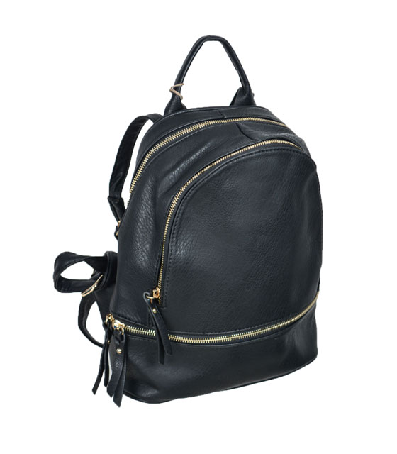 Black backpack with three cases