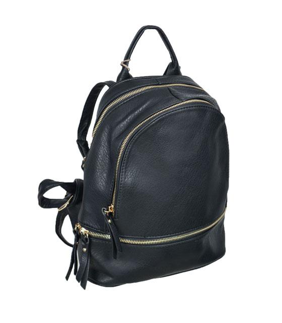 Τσάντα πλάτης με τρείς θήκες Μαύρη
