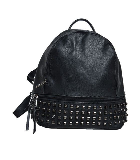 Black backpack with black studs
