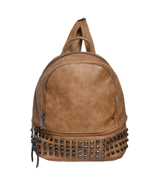 Camel backpack with black studs