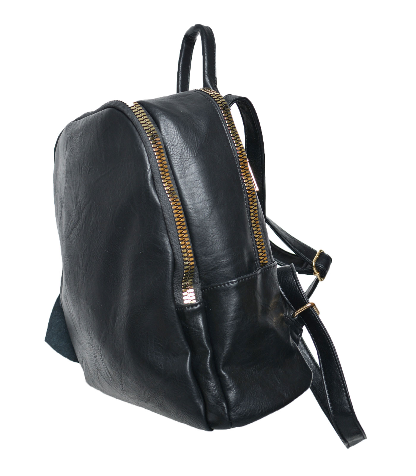 Black backpack with gold zip