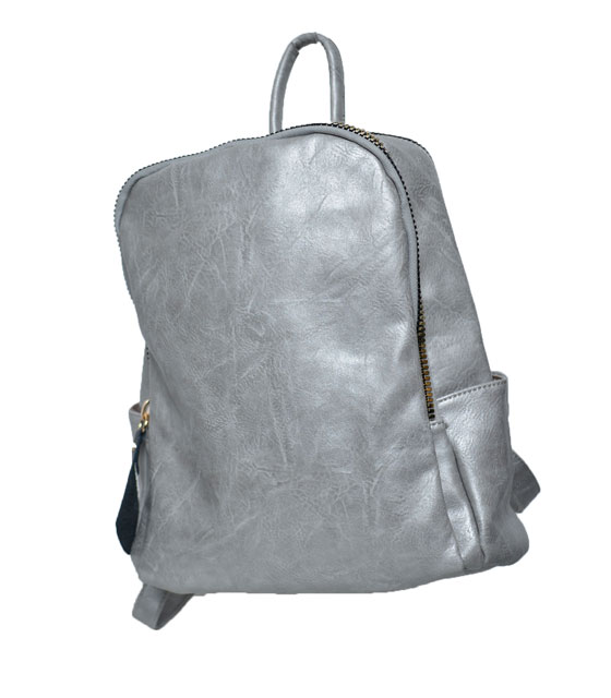 Grey backpack with gold zip