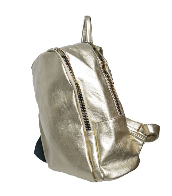 Gold backpack with gold zip