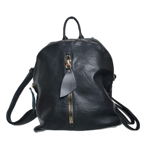 Τσάντα πλάτης με φερμουάρ μπροστά Μαύρη