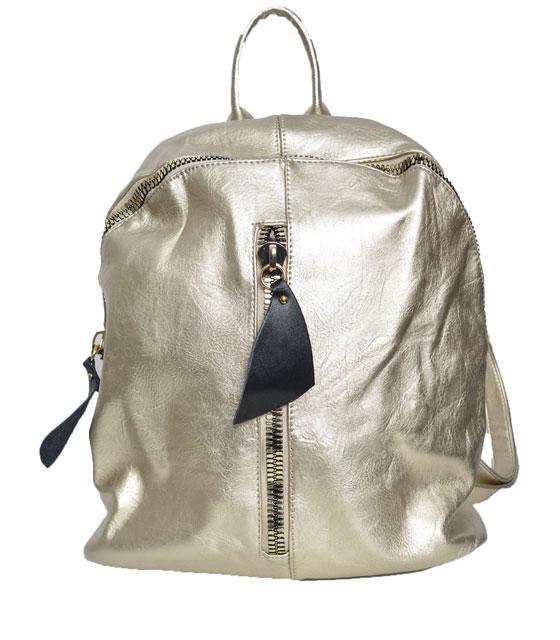 Τσάντα πλάτης με φερμουάρ μπροστά Χρυσή