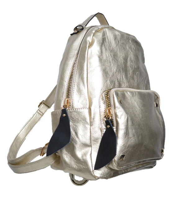 Gold backpack front zip and studs