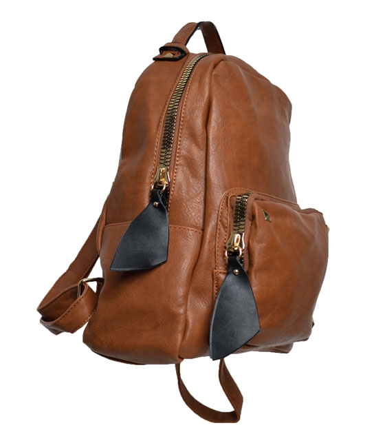 Camel backpack front zip and studs