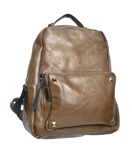 Dark Brown backpack front zip and studs