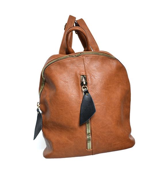 Τσάντα πλάτης με φερμουάρ μπροστά Κάμελ