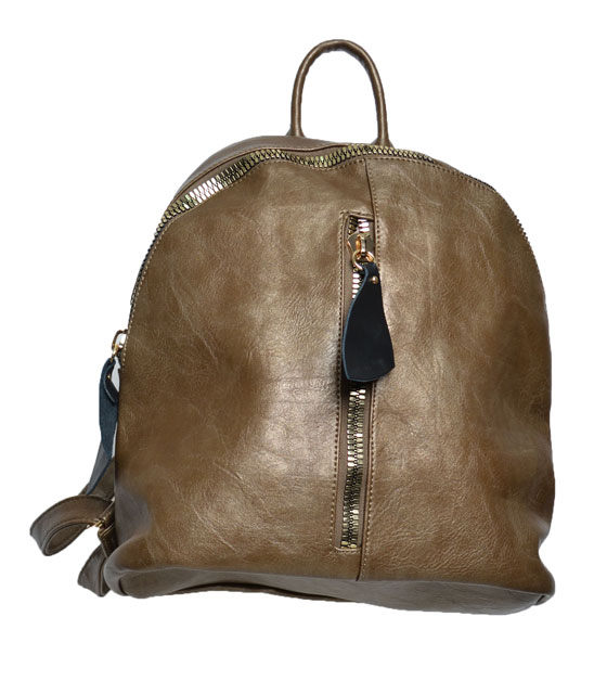 Dark brown backpack front zip