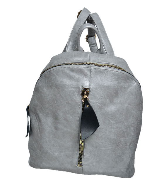 Grey backpack front zip