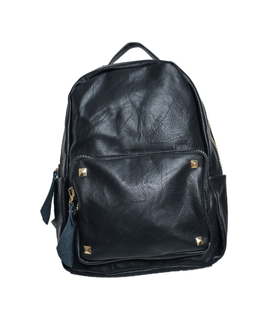 Black backpack front zip and studs