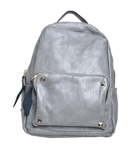 Grey backpack front zip and studs