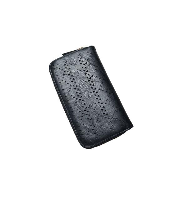 Double Faux leather wallet Black
