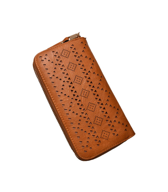 Faux leather wallet Camel
