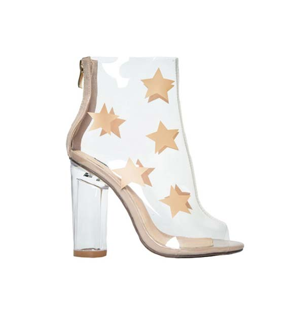 Perspex star print ankle boots