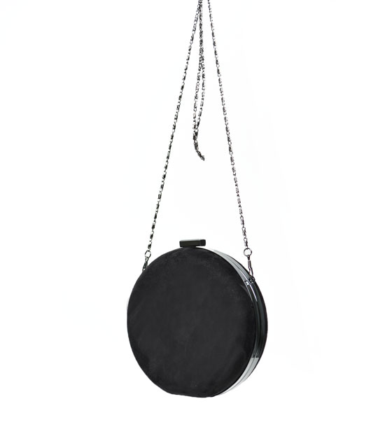 Round clutch bag ( black )