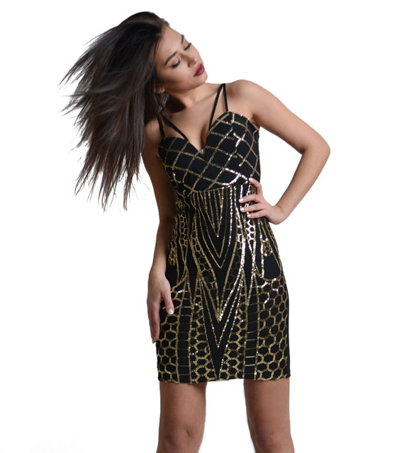 Aztek gold mini dress