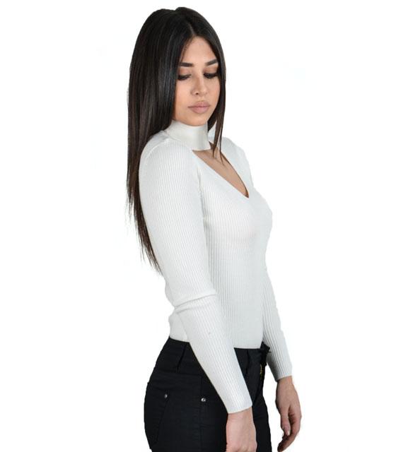 Πλεκτή μπλούζα τσόκερ (Λευκό)