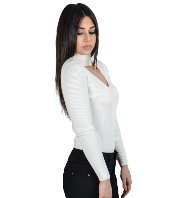 Knitted chocker blouse (White)