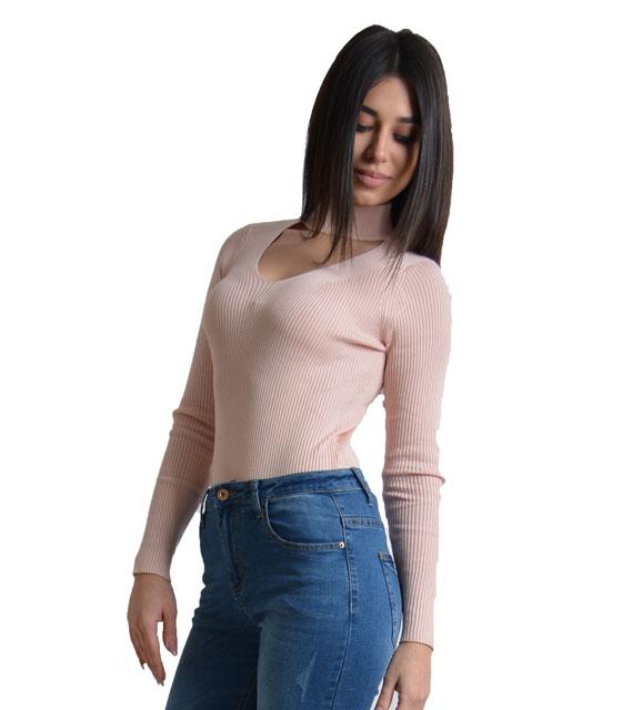 Πλεκτή μπλούζα τσόκερ (Ροζ)