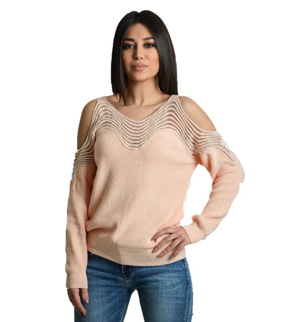 Μπλούζα δαντέλα με ανοιχτούς ώμους (Ροζ)