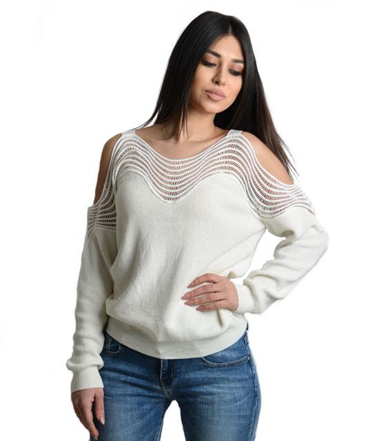 Μπλούζα δαντέλα με ανοιχτούς ώμους (Λευκό) ρούχα   μπλούζες   top