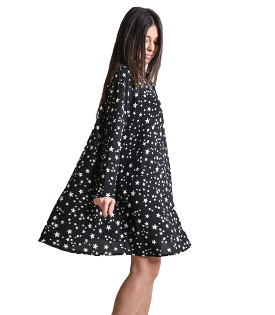 Oversized shirt with stars pattern (Black)