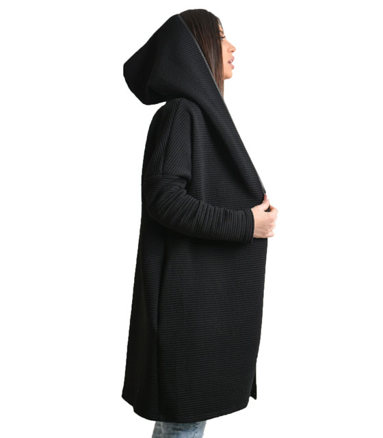 Knitted cardigan with hood (Black)