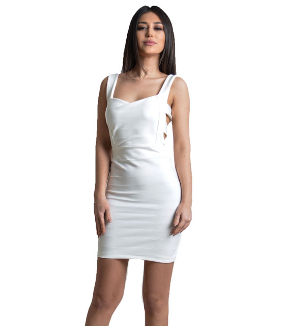Mini dress with backs straps (White)