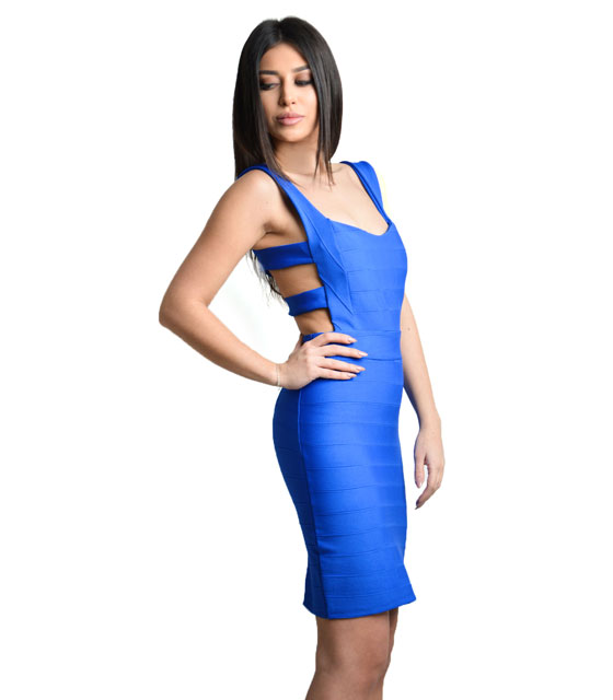 Mini dress with backs straps (Blue)