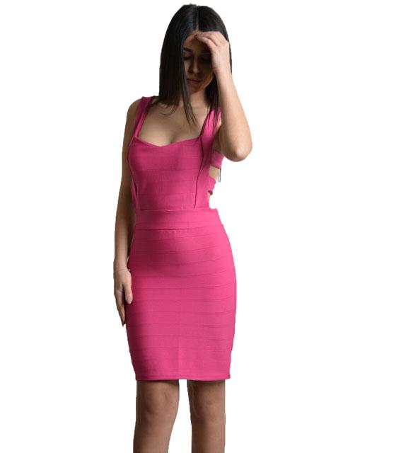 Μινι φόρεμα με λωρίδες και φερμουάρ πίσω (Ροζ Φούξ)