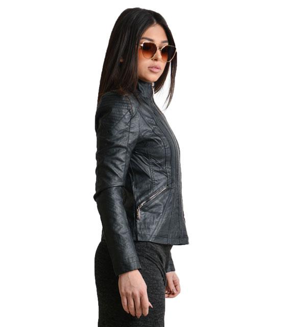 Μαύρο jacket δερματίνη