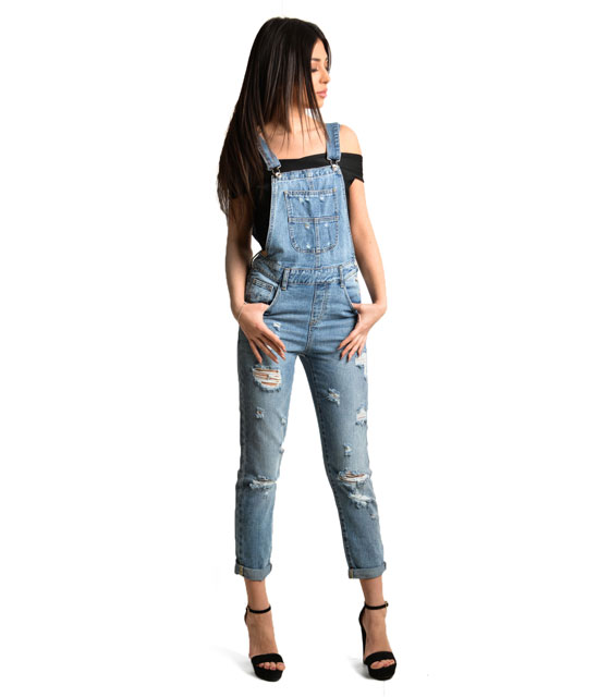 Distressed side buttons dungaree jeans