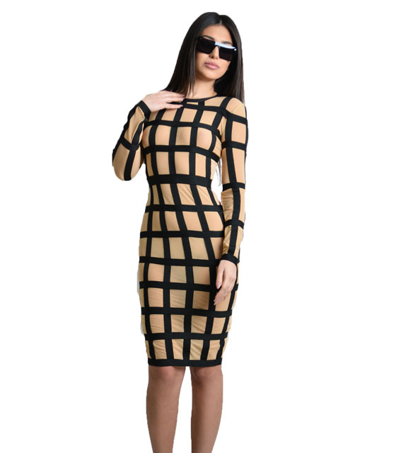 Midi bodycon mesh dress with black elastic details (Beige)