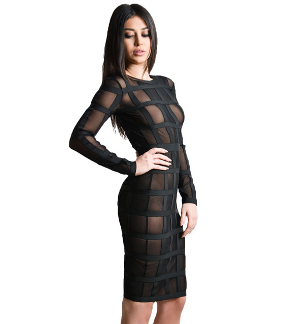 Midi bodycon mesh dress with black elastic details (Black)