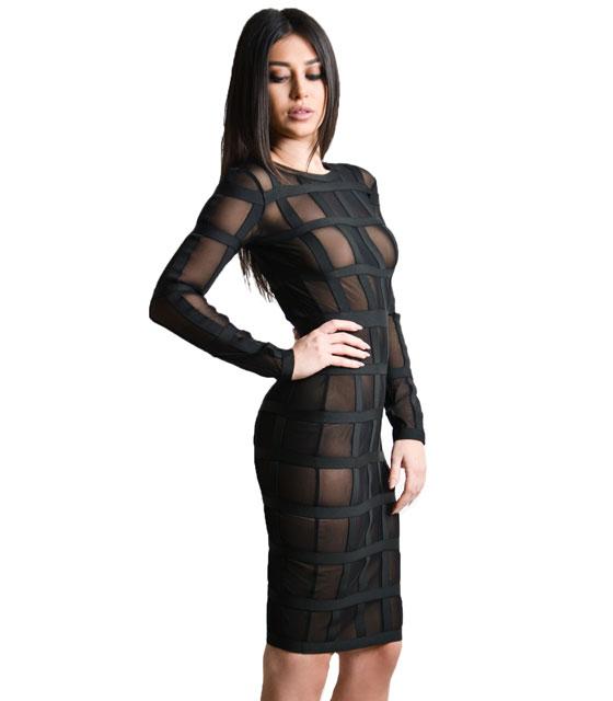 Εφαρμοστό Midi φόρεμα διαφάνεια με λεπτομέρειες λάστιχο (Μαύρο)