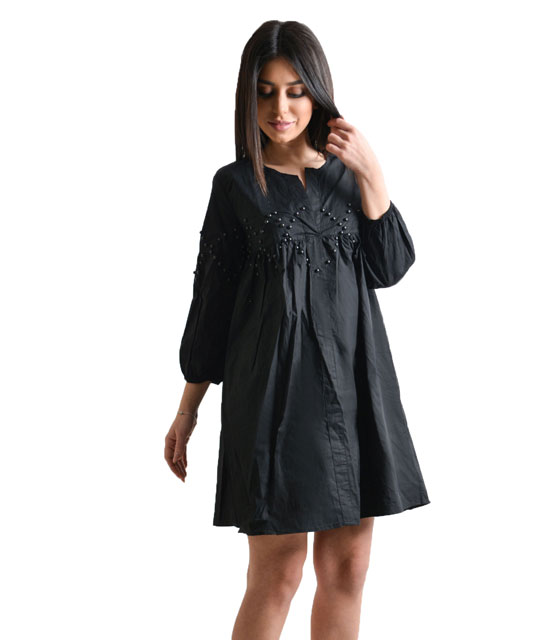 Black baggy dress with stud details