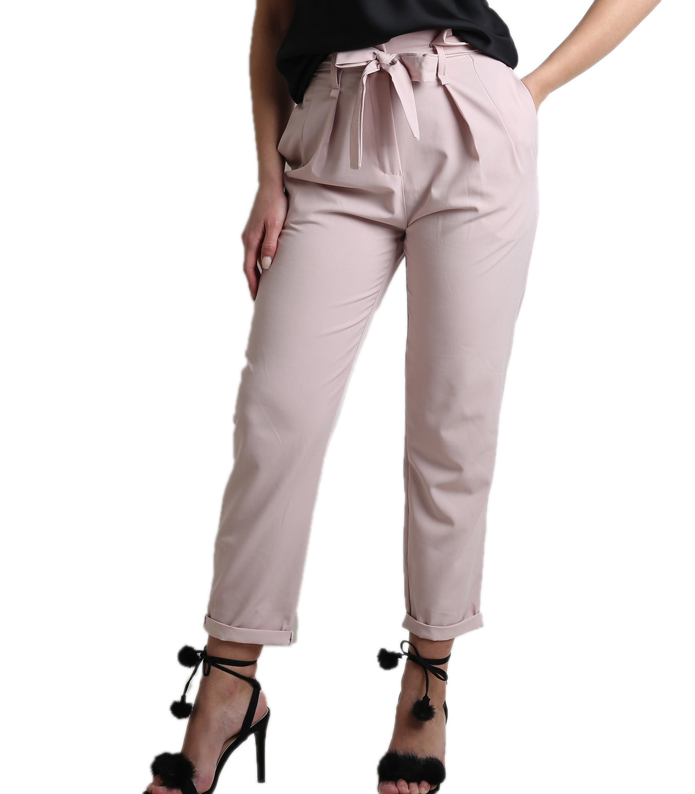 High weisted trousers with belt pink