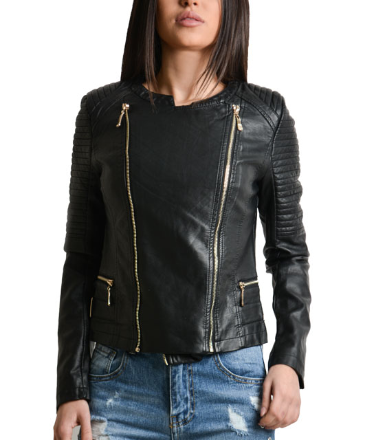 Black leather jacket with double gold zipper