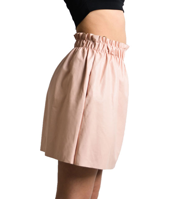 Pocket leather skirt with elastic (Pink)