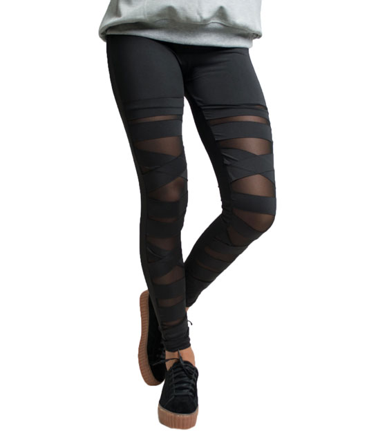 Leggings high waisted black with slits