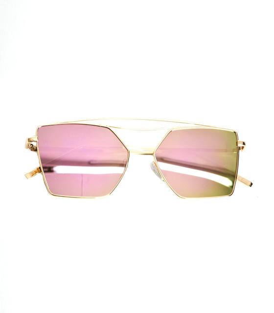 Γυαλιά μεταλλικά με χρυσό -ροζ καθρέφτη αξεσουάρ   γυαλιά ηλίου