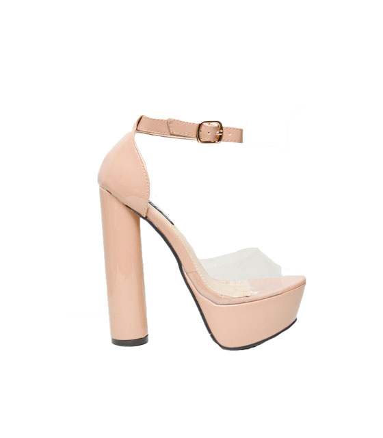 Mesh detail patent leather heeled sandals Nude