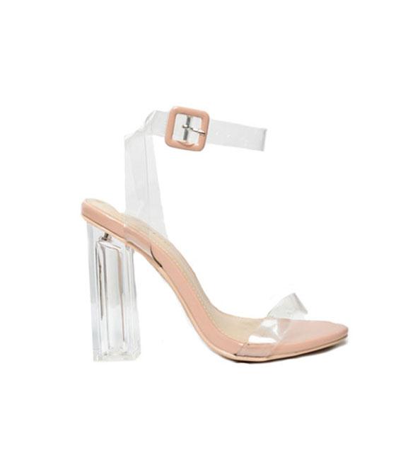 Mesh detail heeled sandal Nude