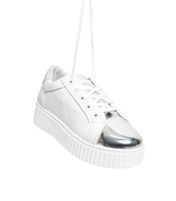 Silver patent leather sneakers