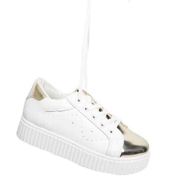 Gold patent leather sneakers