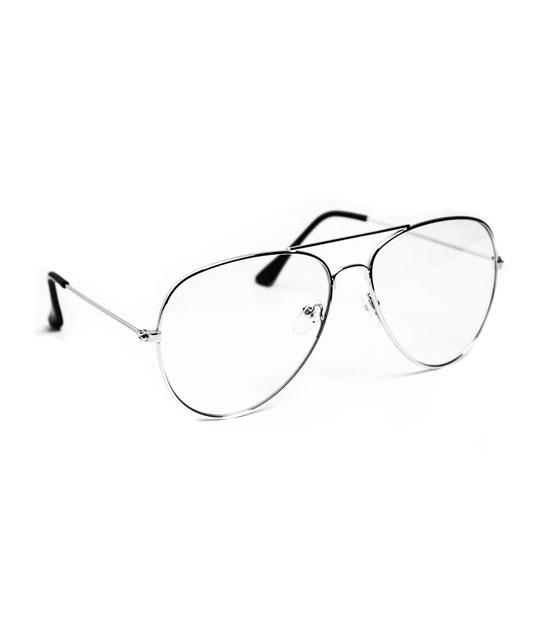 Ασημί μεταλλικά γυαλιά με διαφανές φακό